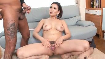 Rei Kitajima in 'Sweet milf amazes with sloppy Asian blowjob on cam'